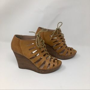 Restricted Cutout Lace-Up Wedges